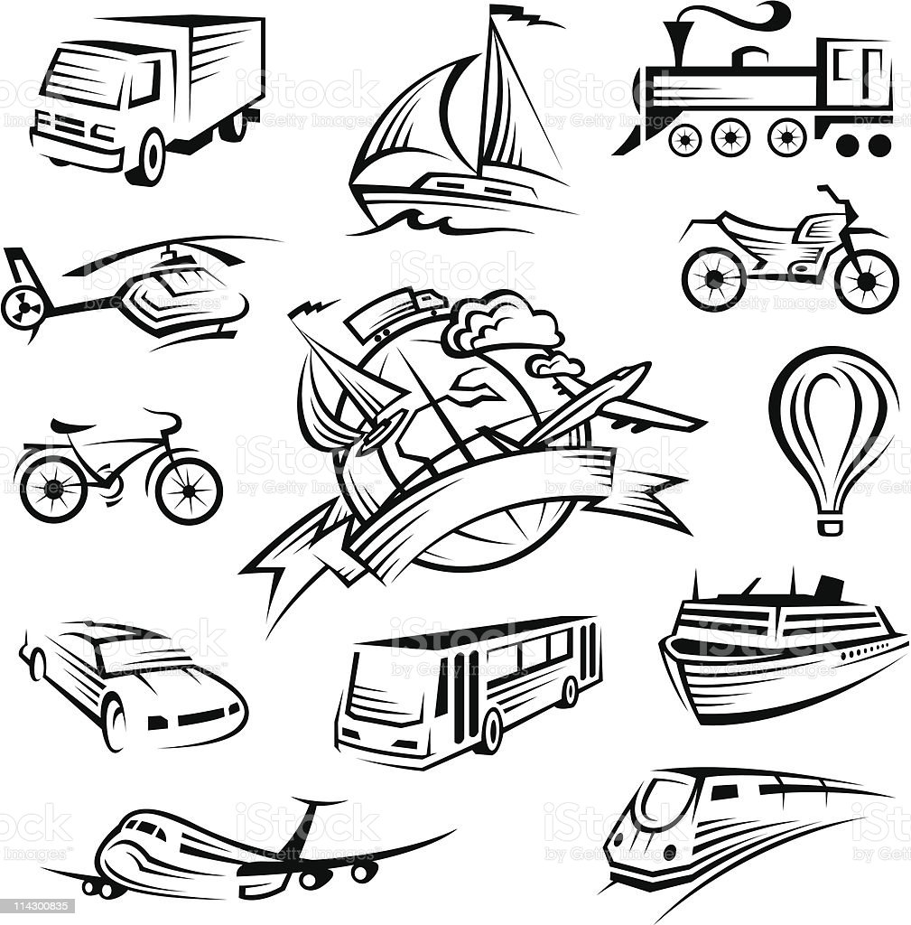icons collection of transport royalty-free stock vector art