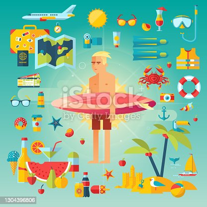 istock Icons collection set of planning a summer vacation 1304396806