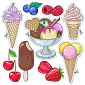 Vector illustration, icons colored dessert. Set candy, ice cream, ice cream in a waffle cup and different berries, strawberries and raspberries isolated on white background