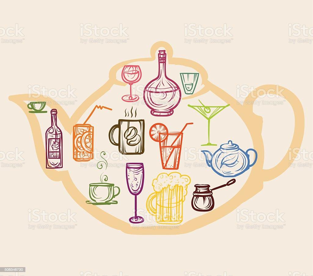 Icone colorate di bevande. - illustrazione arte vettoriale