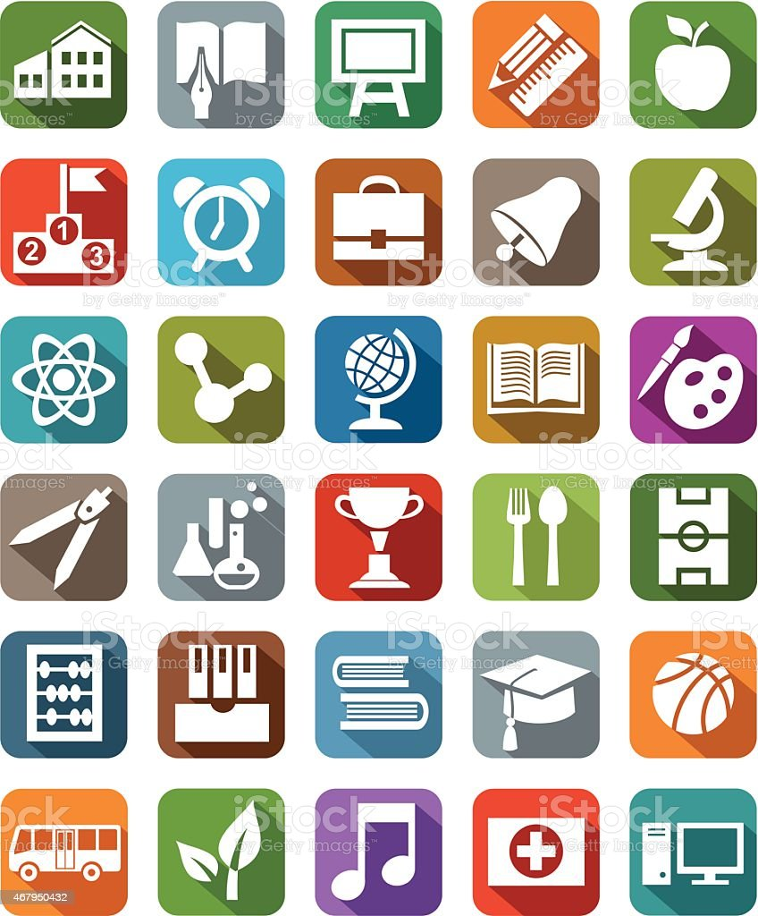 Icons colored education. vector art illustration
