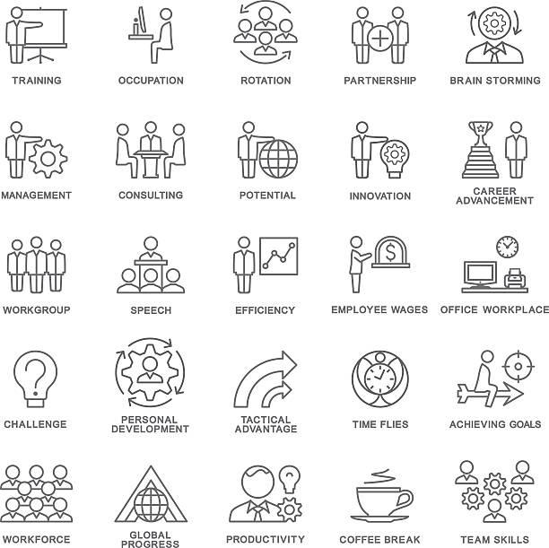 ikony ładu korporacyjnego, szkolenie biznesowe. praca zespołowa i porady. - oś czasu pomoc wizualna stock illustrations