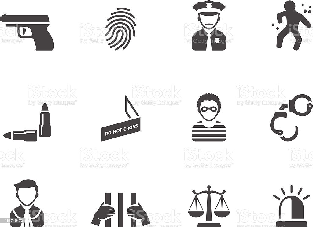 BW Icons - Crime vector art illustration