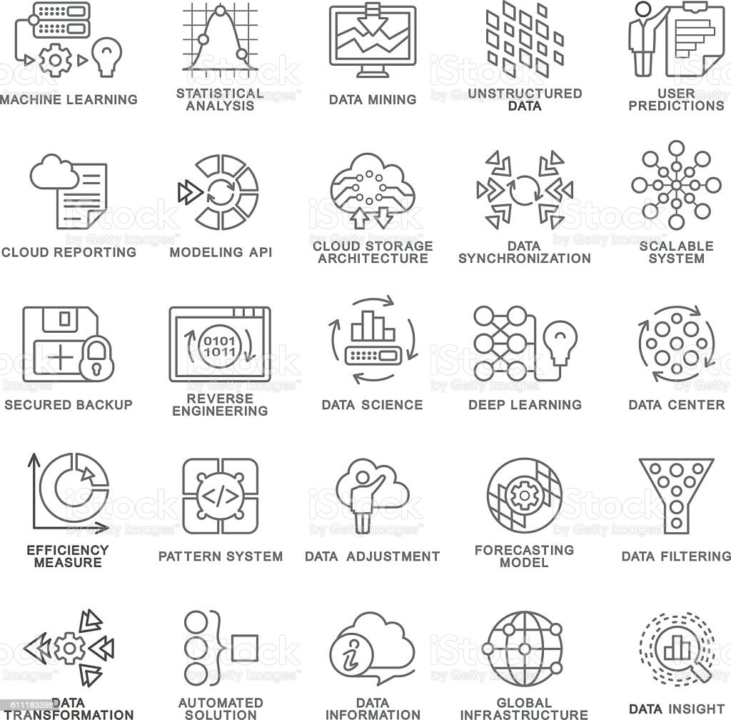 Icons database processing, machine learning, insight, modeling API, pattern system. vector art illustration