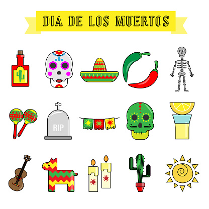 icons day of the dead celebration of mexico. isolated vector