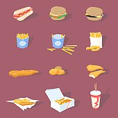 A vector illustration of a selection of tasty, detailed fast food icons - including burgers, chips, nuggets, fish, chicken burger, soft drink and more! These work well at small sizes (as shown) and are also detailed enough to be used at a large scale. Everything is grouped for easy editing.