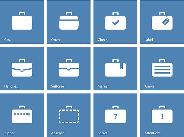 Icons depicting various types of luggage for traveling vector art illustration