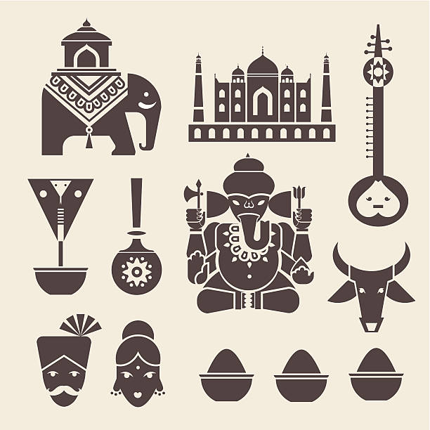 Icons done in a stylized Indian motif Vector set of indian travel icons tavla stock illustrations