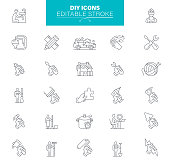 Home Repair, Construction Outline Icons. Editable Icon Set