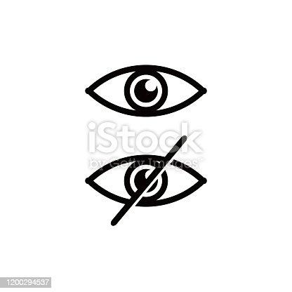 Icons eye and no eye. avoid eye contact. Vector illustration
