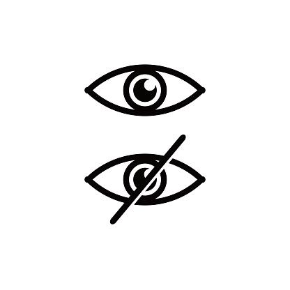 Icons eye and no eye. avoid eye contact.