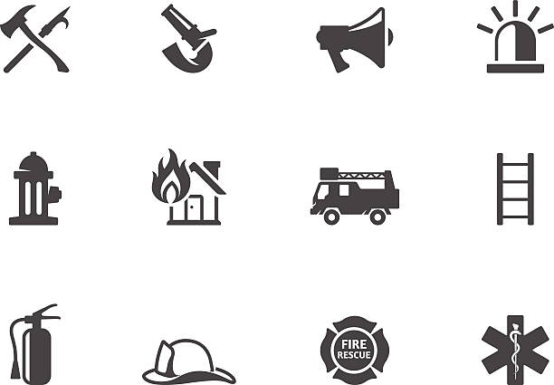 BW Icons - Fire Fighter Fire fighter icons in black & white. EPS 10. AI, PDF & transparent PNG of each icon included. maltese cross stock illustrations