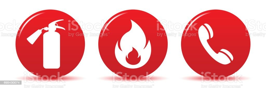 Icons fire safety vector art illustration