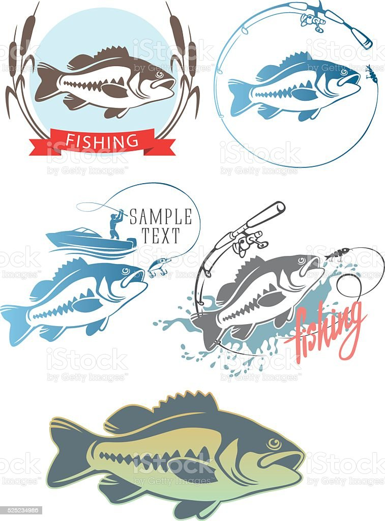 Icons  fish bass vector art illustration