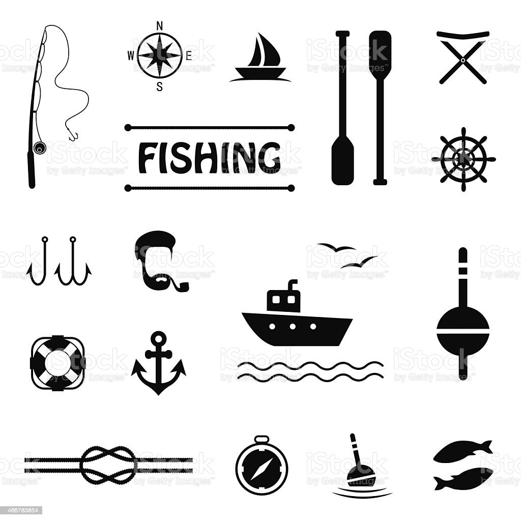 icons, fishing vector art illustration