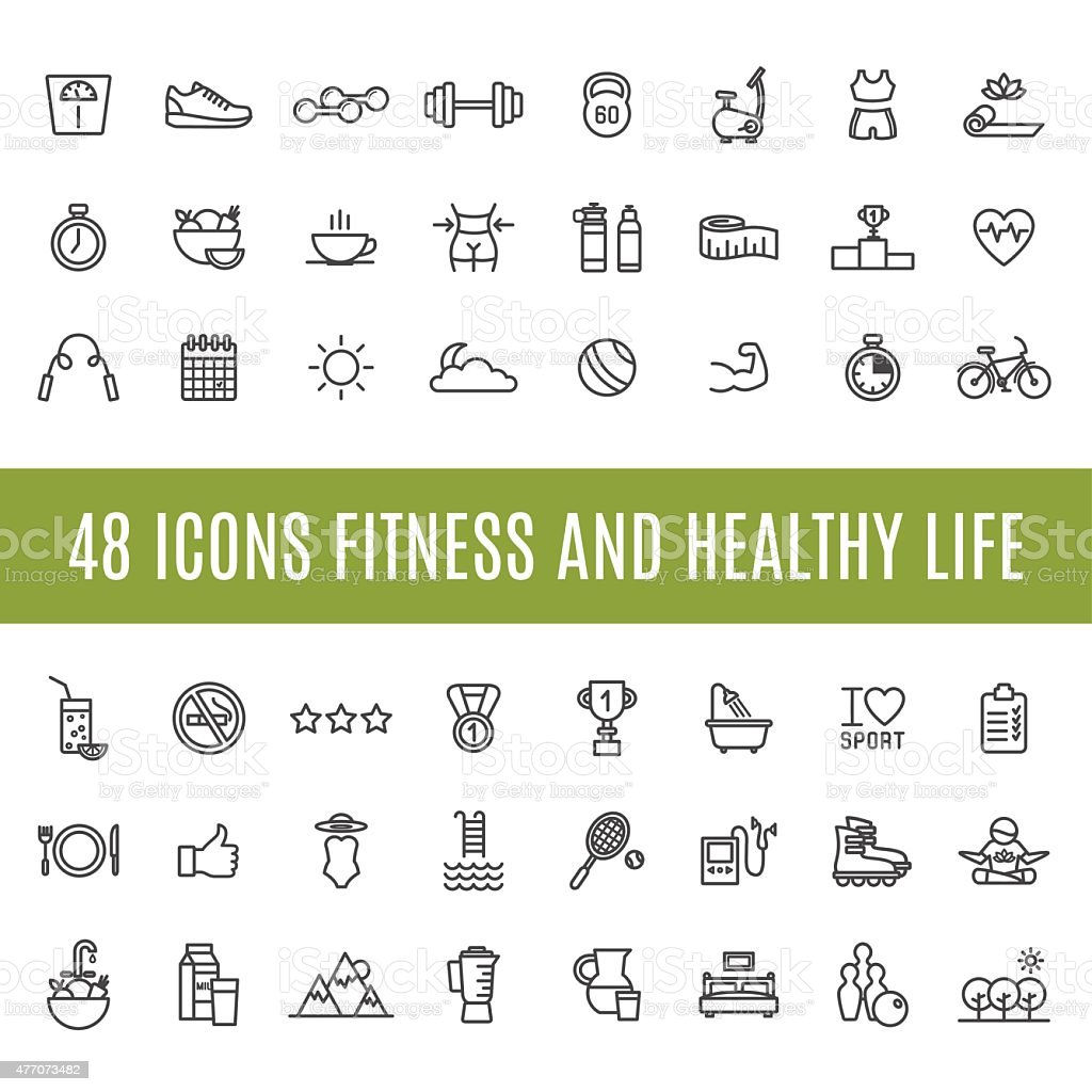 Icons Fitness and healthy life vector art illustration