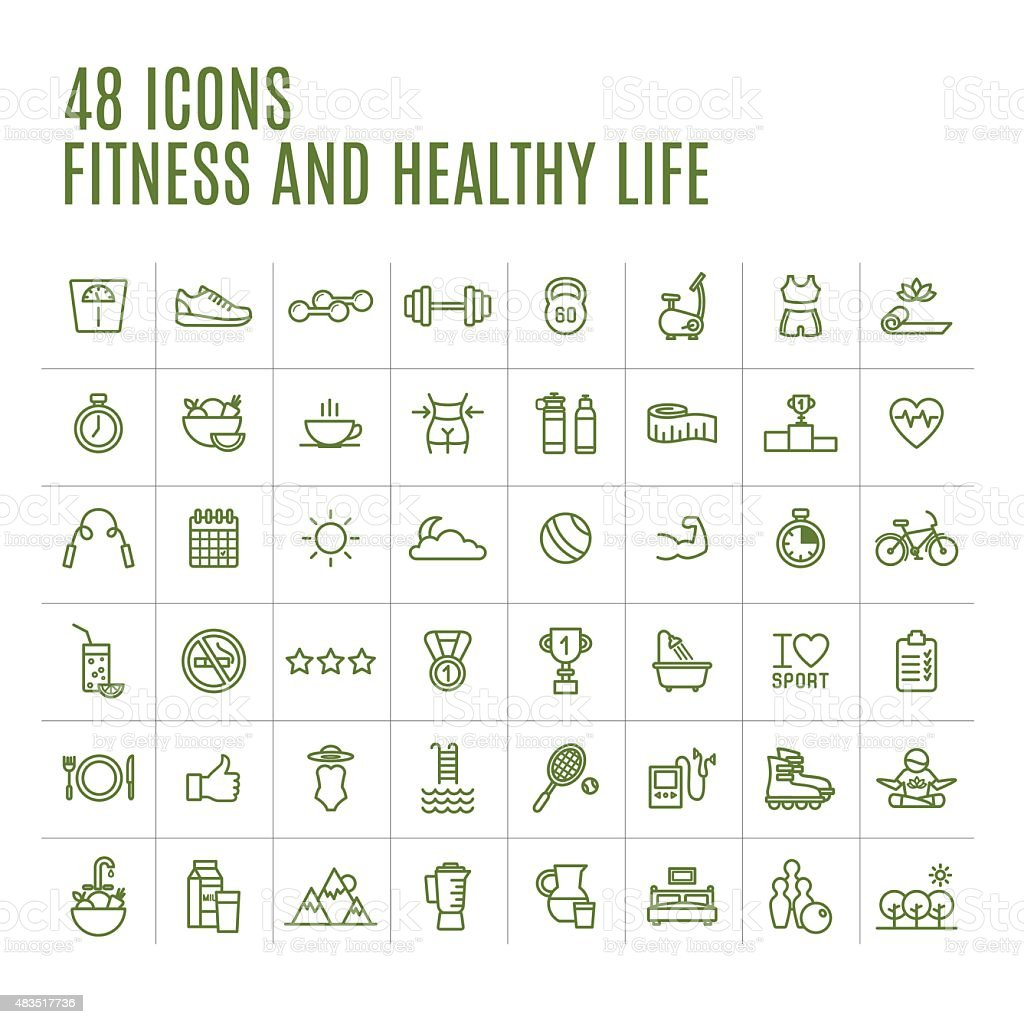 Icons Fitness vector art illustration