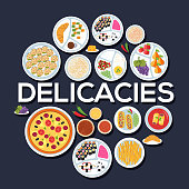 Icons flat  delicacy set circle concept design