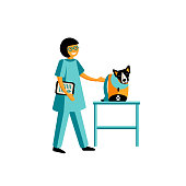 Icons flat style of veterinarian with a dog. Cute woman and pet.
