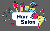 Icons for barber shop. Tools for the master in the beauty salon. Comb for hair, hair dryer, scissors, shampoo. Template greeting card or greeting card with a place for text.