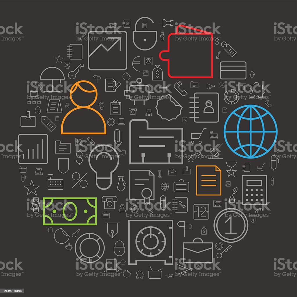 Icons for business and finance arranged in circle vector art illustration