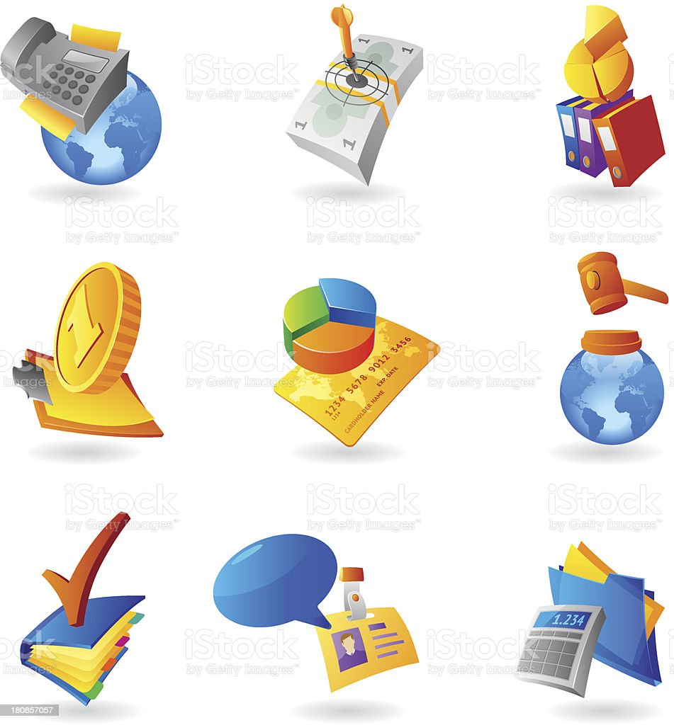 Icons for business and finance royalty-free stock vector art