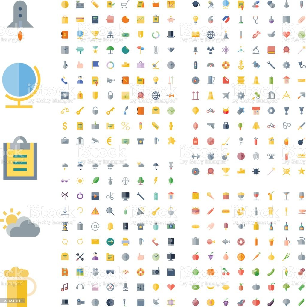 Icons for business, technology, industrial, food and drinks vector art illustration