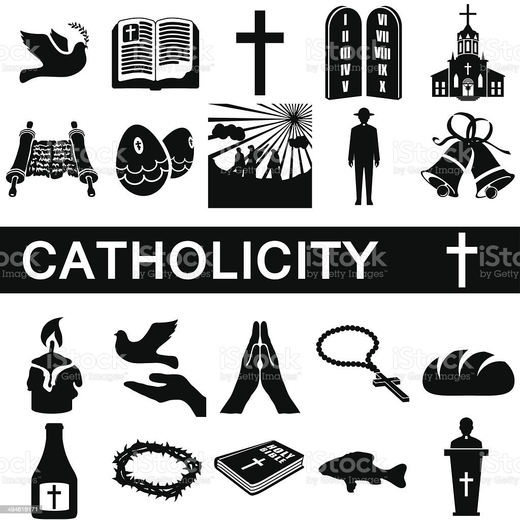 Icons for catholicity vector art illustration