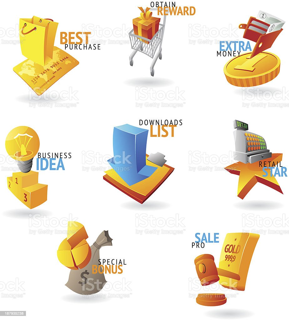 Icons for commerce and retail royalty-free stock vector art