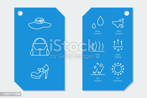 istock Icons for fabric material properties on two labels 1204771356