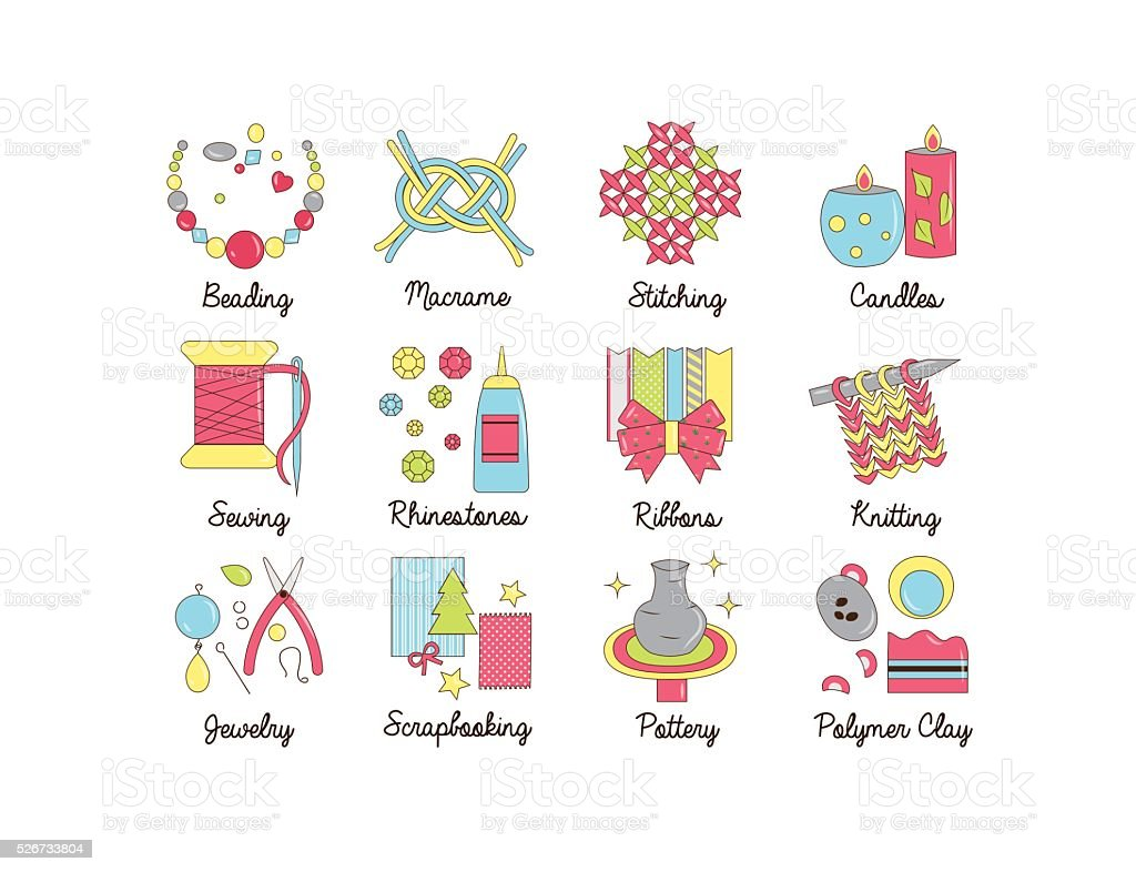 Icons For Handmade Diy And Craft Activities Stock Vector Art ...