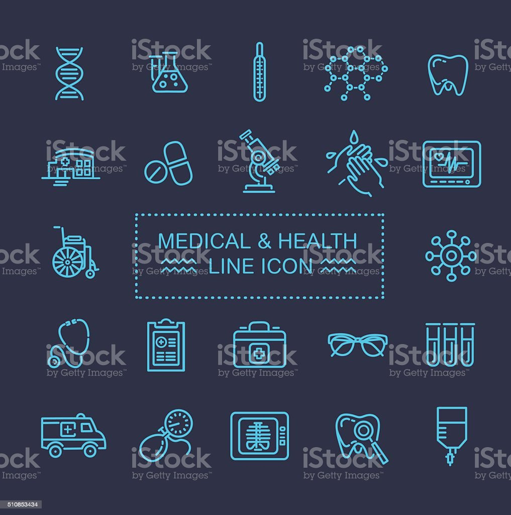 icons for medicine vector art illustration
