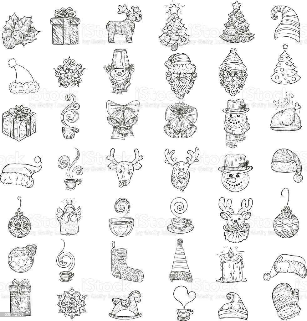 Ikony Dla Nowego Roku I święta Bożego Narodzenia Stockowe Grafiki