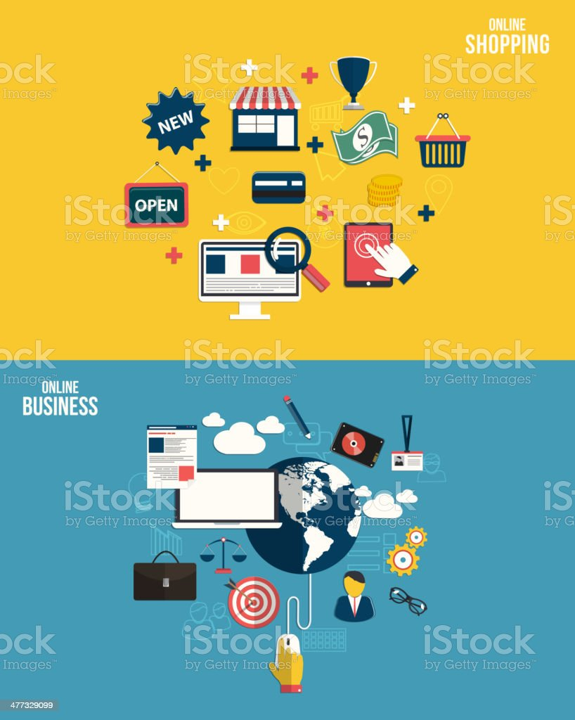 Icons for online business and online shopping. Flat style. Vector royalty-free stock vector art