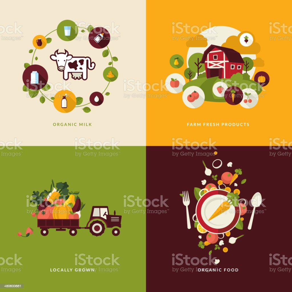Icons for organic food and milk vector art illustration