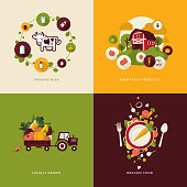 Icons for organic food and milk