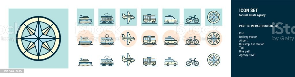 Icons  for real estate agency. Part 10. Infrastructure_02 - Illustration vectorielle