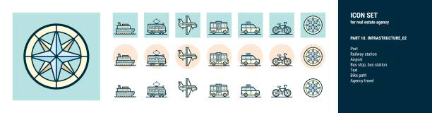 icons  for real estate agency. part 10. infrastructure_02 - travel agent stock illustrations, clip art, cartoons, & icons