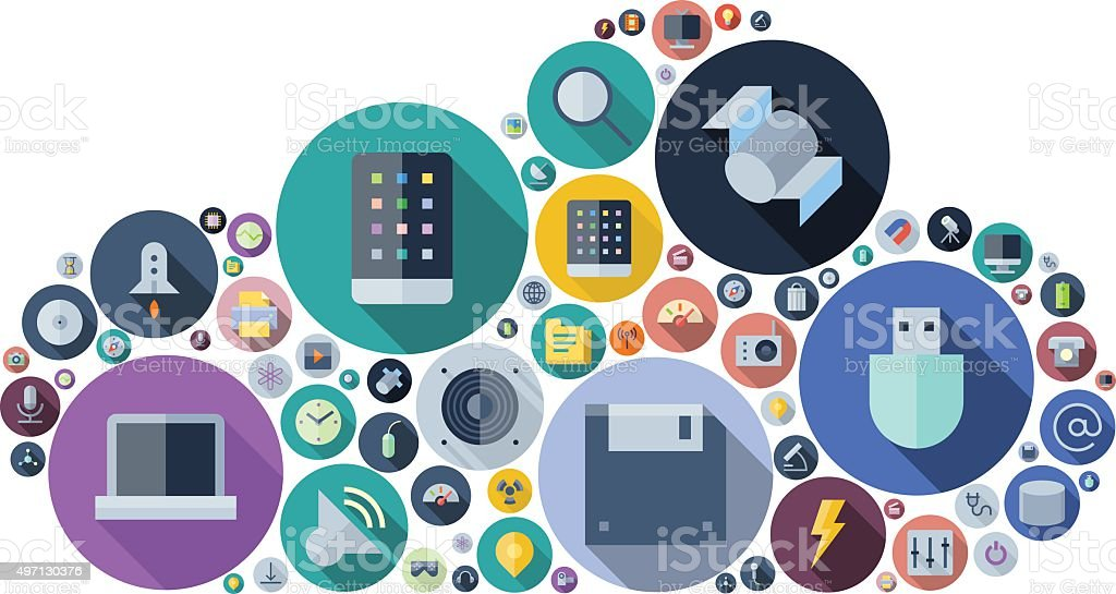 Icons for technology and devices arranged in cloud shape vector art illustration