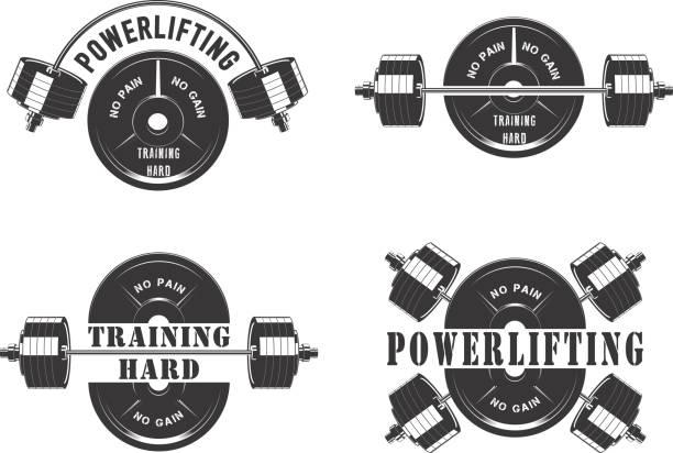 Iconos para el gimnasio y levantamiento de pesas - ilustración de arte vectorial