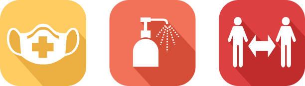symbole für virenschutzgesten - gestikulieren stock-grafiken, -clipart, -cartoons und -symbole