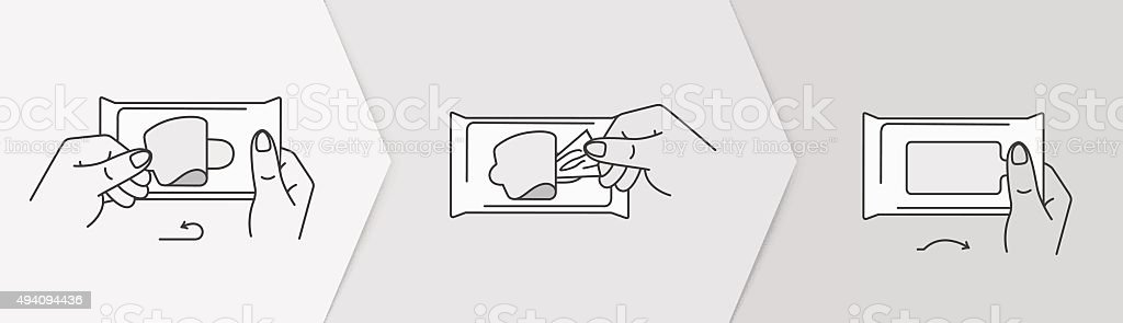 Icons for wet wipes packing. vector art illustration