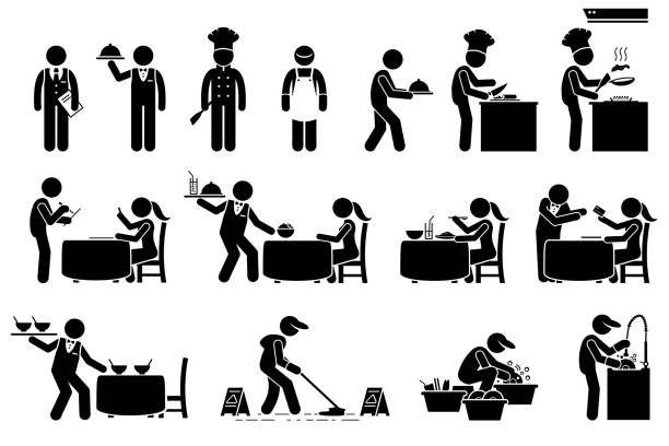 Icons for workers, employees, and customers at restaurant. vector art illustration