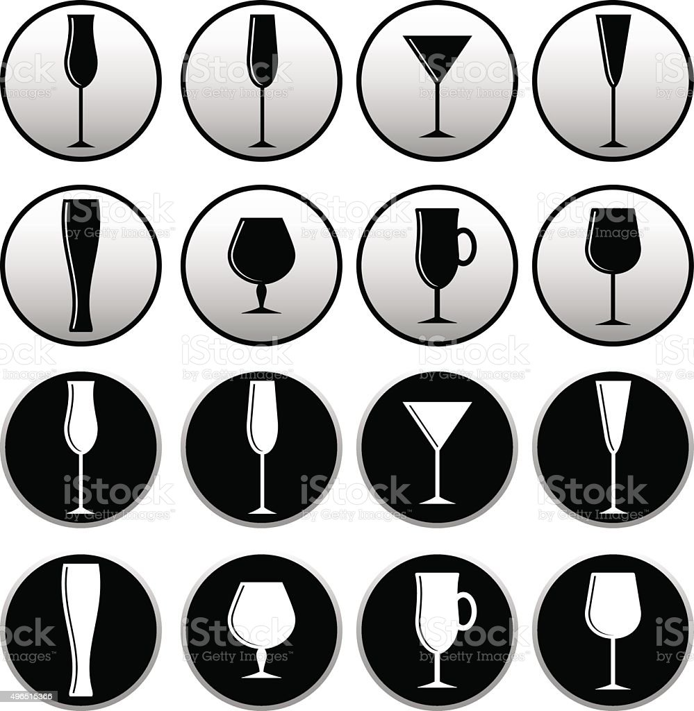 icons glasses round vector art illustration