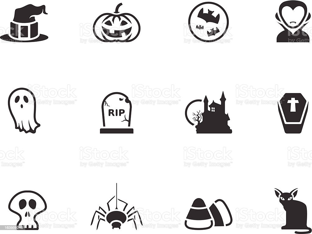 BW Icons - Halloween royalty-free stock vector art