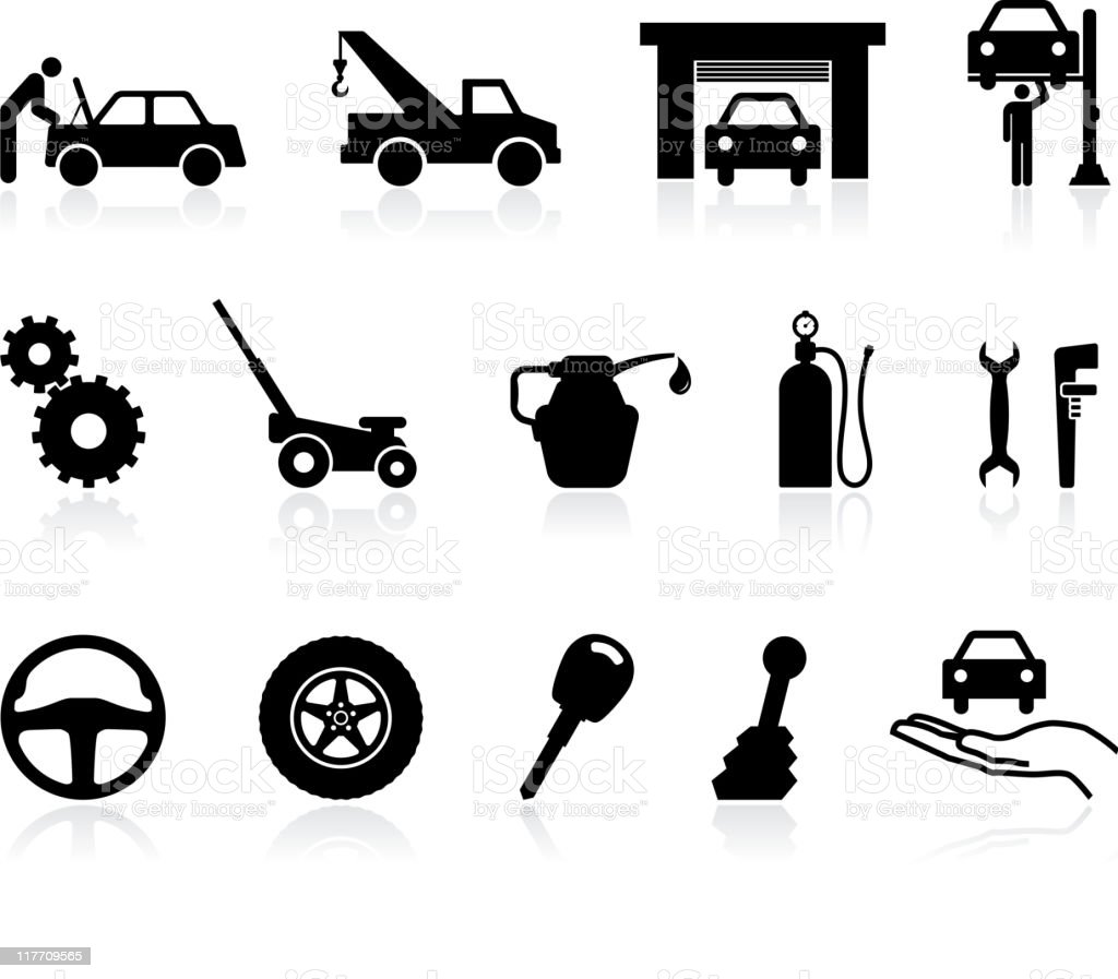 icons having to do with auto repairing vector art illustration