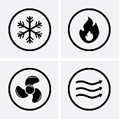 HVAC (heating, ventilating, and air conditioning) Icons. Heating and Cooling technology. Vector