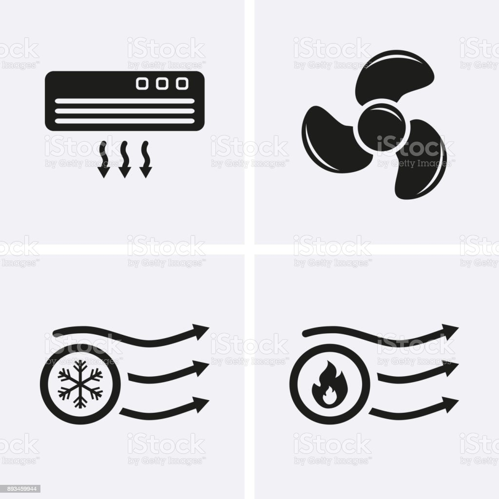 HVAC (heating, ventilating, and air conditioning) Icons. Heating and Cooling technology. vector art illustration