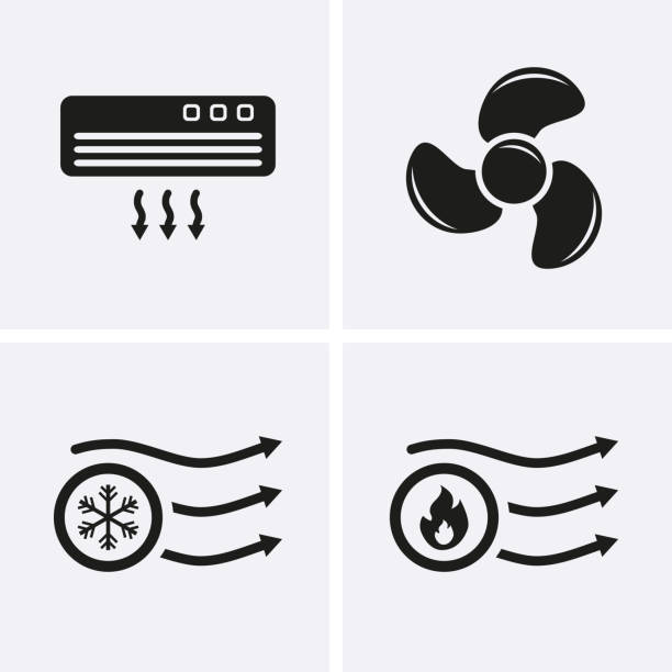 HVAC (heating, ventilating, and air conditioning) Icons. Heating and Cooling technology. HVAC (heating, ventilating, and air conditioning) Icons. Heating and Cooling technology. Vector fan enthusiast stock illustrations