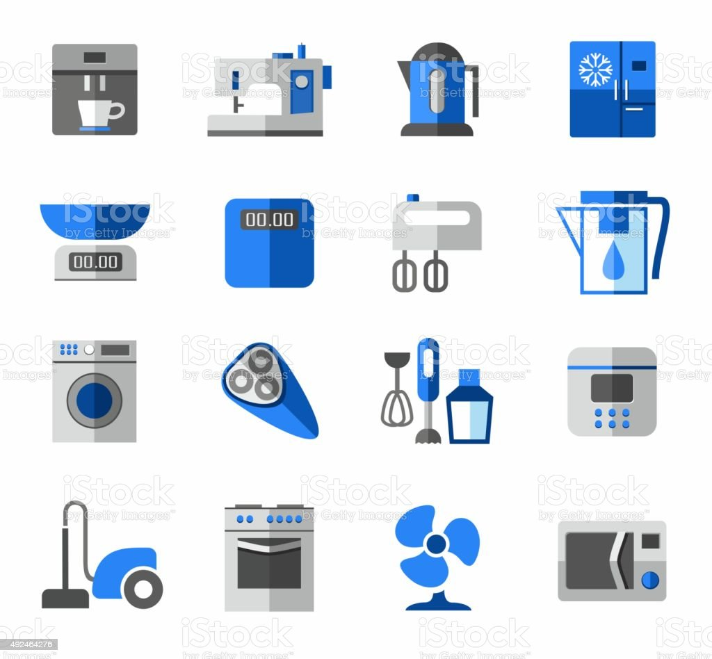 Icons Haushaltsgeräte Farbe Blau Grau Stock Vektor Art und mehr ...